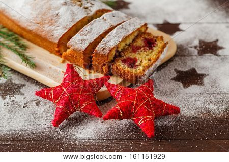 Raditional Homemade Christmas Cake Holiday Dessert With Cranberry In New Year Tree Decorations Frame