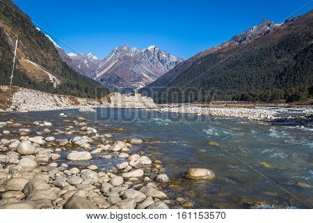 Teesta river flowing through the valley of Yumthang in North Sikkim India.
