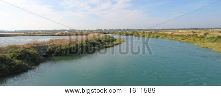 River In Provencal Vegetation, Re Island, France, Panorama