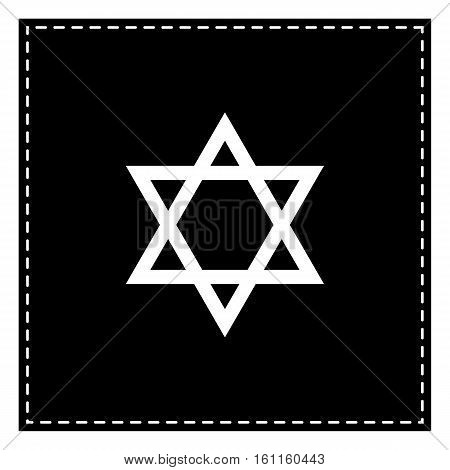 Shield Magen David Star. Symbol Of Israel. Black Patch On White