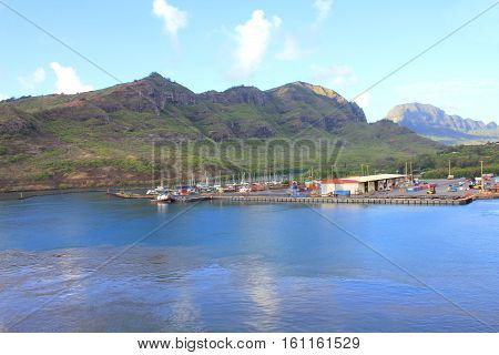 Kauai port. Green Hawaii Island view from cruise ship