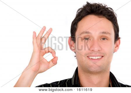 Casual Guy Giving The Ok Sign