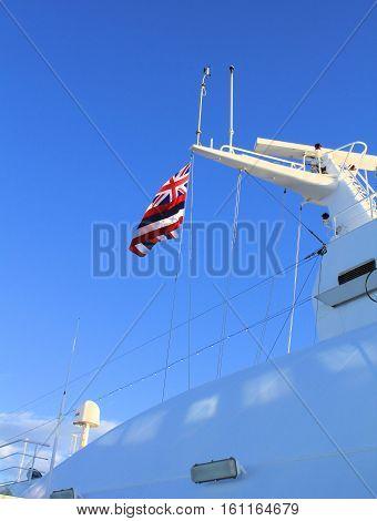 Flag of Hawaii state on cruise ship mast