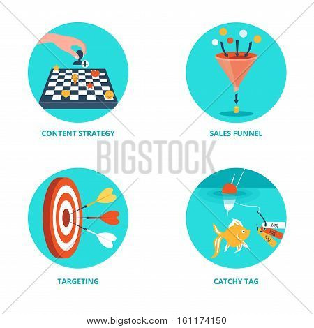 Vector icons for Internet Marketing. Content strategy, targeting, sales funnel, catchy tag.