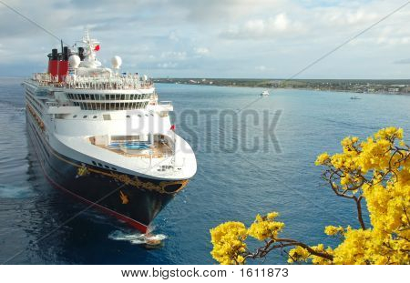 Cruise Ship Approaching Port