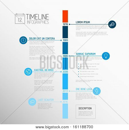 Vector Infographic timeline report template with the biggest milestones, icons, years and color buttons - blue vertical time line version