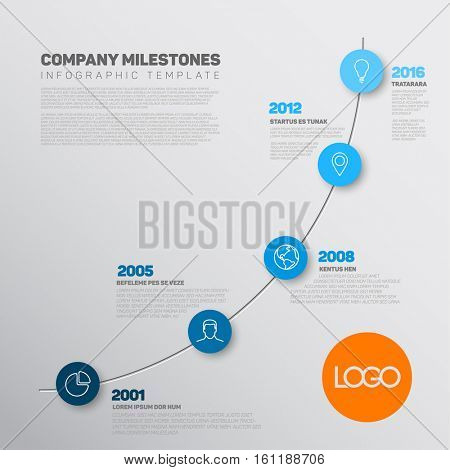 Vector Infographic timeline report template with the biggest milestones, icons, years and color buttons. Business company overview profile - blue version.