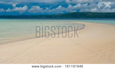 Sandy Bank during Low Tide on Kri Island, Gam Island in Background, Raja Ampat, Indonesia, West Papua.