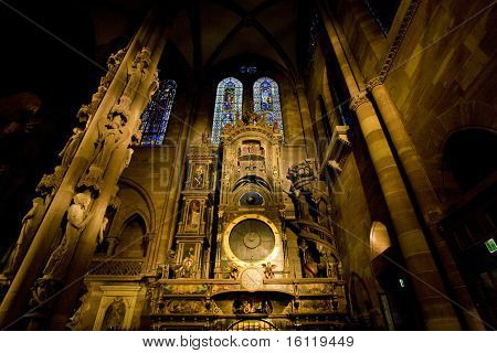 astronomical clock in Cathedral Notre Dame, Strasbourg, Alsace, France