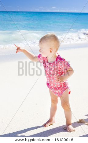toddler on the beach, Foul Bay, Barbados, Caribbean