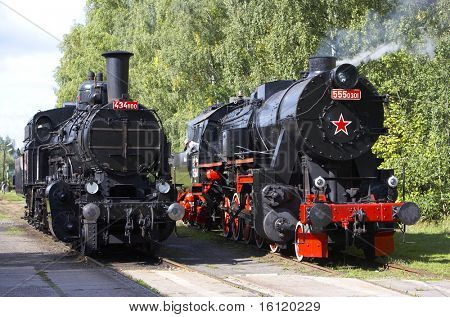steam locomotives (555.301+434.1001), depot Luzna u Rakovnika, Czech Republic