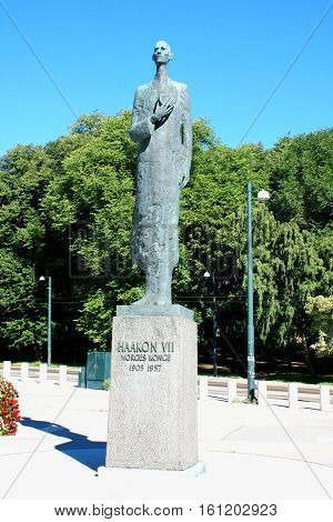 Statue of King Haakon VII of Norway in Oslo