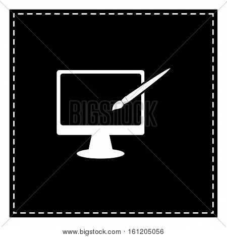 Monitor With Brush Sign. Black Patch On White Background. Isolat