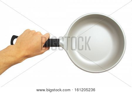 Isolated frying pan holding in hand. Element of design.