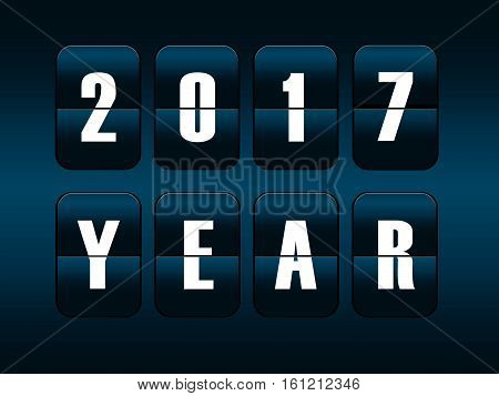 New year 2017 card. Mechanical timetable counter.