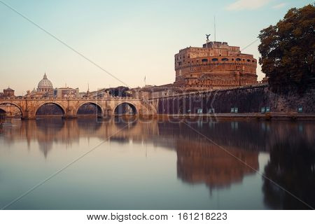 Castel Sant Angelo in Italy Rome and bridge over River Tiber