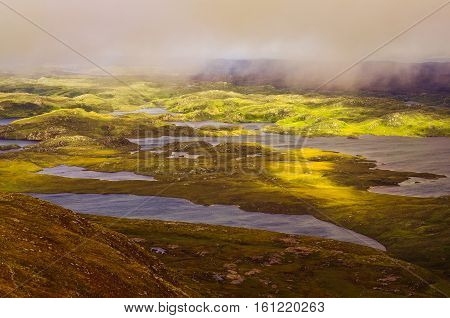 Beautiful Rugged Landscape In Inverpolly, Highlands Of Scotland