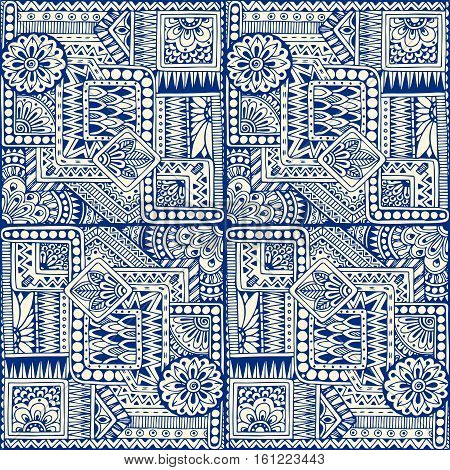 Seamless asian ethnic floral retro doodle blue monochrome background pattern in vector. Geometric ethnic pattern. Decorative ancient hand drawn ethnic seamless background.Made by trace from sketch.