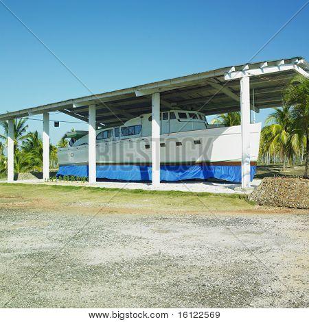 copy of Fidel Castro's ship, Parque Nacional Desembarco del Granma, Granma Province, Cuba