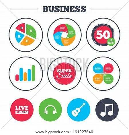 Business pie chart. Growth graph. Musical elements icons. Musical note key and Live music symbols. Headphones and acoustic guitar signs. Super sale and discount buttons. Vector