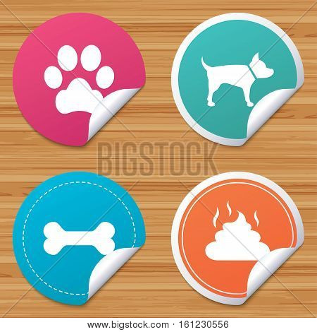 Round stickers or website banners. Pets icons. Dog paw and feces signs. Clean up after pets. Pets food. Circle badges with bended corner. Vector