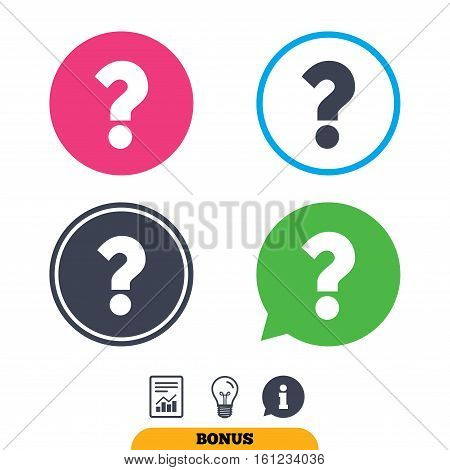 Question mark sign icon. Help symbol. FAQ sign. Report document, information sign and light bulb icons. Vector