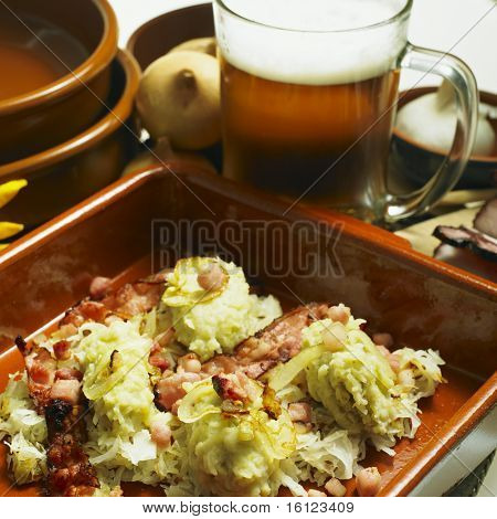 South Bohemian dumplings with cabbage