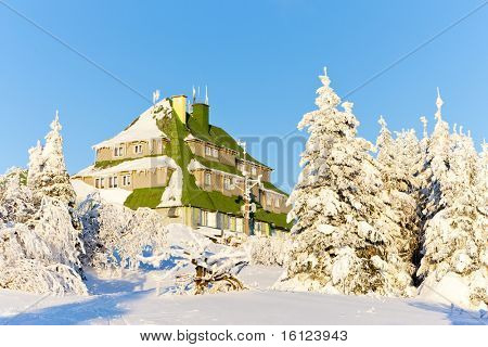 Masarykova Cottage, Orlicke Mountains in winter, Czech Republic