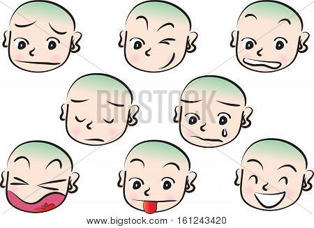 Expression, embarrassment, angry, shy, happy boy face set