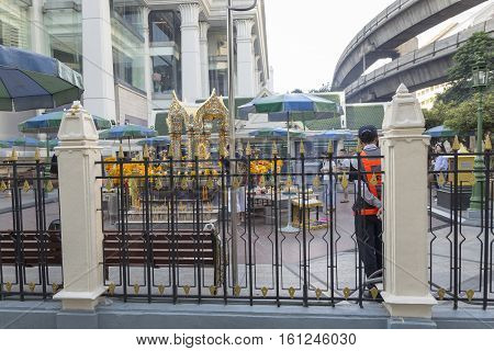 BANGKOKTHAILAND - NOV 26 : outside scene of Erawan shrine at Ratchaprasong Junction on november 26 2016 Thailand. Erawan shrine is famously sacred place in bangkok