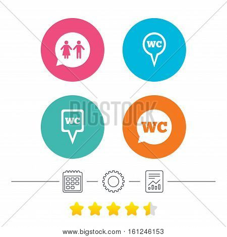 WC Toilet pointer icons. Gents and ladies room signs. Man and woman speech bubble symbols. Calendar, cogwheel and report linear icons. Star vote ranking. Vector