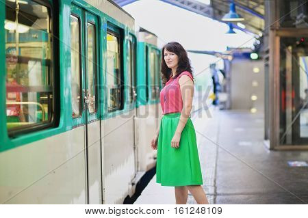 Young Woman In Parisian Underground