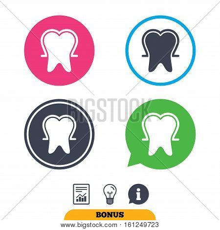 Tooth enamel protection sign icon. Dental toothpaste care symbol. Healthy teeth. Report document, information sign and light bulb icons. Vector