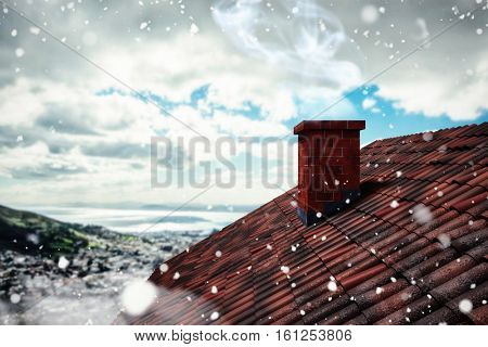 3D Snow falling against landscape of city and cloudy sky