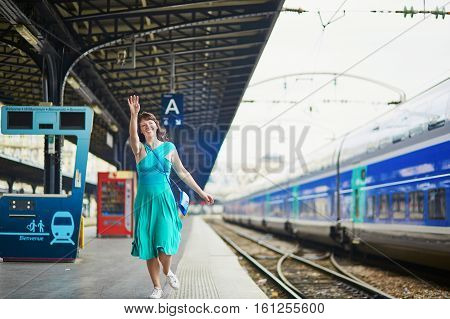 Young Woman In Parisian Underground Or Railway Station