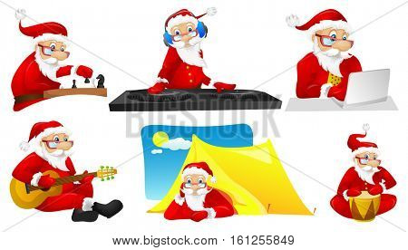 Set of cute Santa Claus characters resting in a camping. Set of Santa Claus characters relaxing with guitar on a vacation. Santa Claus playing chess. Vector illustration isolated on white background.