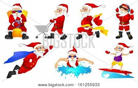 Set of cute Santa Claus characters listening to music in headphones. Funny Santa Claus characters flying like a superhero. Santa Claus watching movie. Vector illustration isolated on white background.
