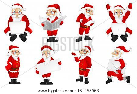 Set of Santa Claus characters working on laptop. Set of Santa Claus characters sitting with raised hands in front of laptop. Santa Claus using laptop. Vector illustration isolated on white background.