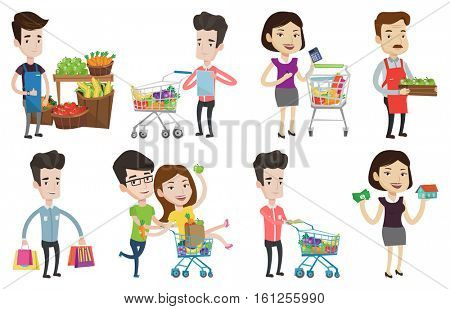 Young woman standing near trolley with grocery products. Woman shopping in grocery store. Worker of grocery store giving thumb up. Set of vector flat design illustrations isolated on white background.