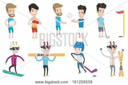 Caucasian sportsman holding volleyball ball in hands. Friends having fun while playing beach volleyball. Sportsman playing hockey. Set of vector flat design illustrations isolated on white background.