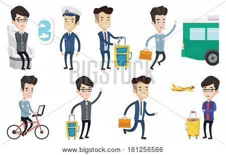 Passenger with suitcase showing travel insurance tag. Business class passenger standing near suitcase with priority luggage tag. Set of vector flat design illustrations isolated on white background.