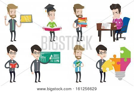Student looking at test paper with bad mark. Student disappointed test with F grade. Student dissatisfied with the test results. Set of vector flat design illustrations isolated on white background.