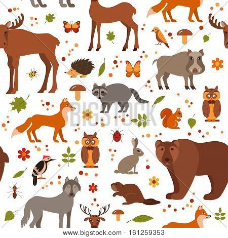 Vector cartoon flat style forest animals seamless pattern colorful background. Zoo collection of fox, wolf, bear, moose, hedgehog, reindeer, owl, boar, raccoon woodpecker hare