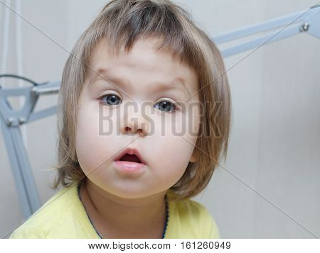 Funny Baby Girl Portrait Talking With Cute Sweet Cheeks