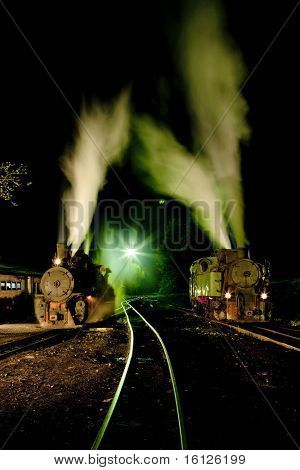 steam locomotives at night, Oskova, Bosnia and Herzegovina