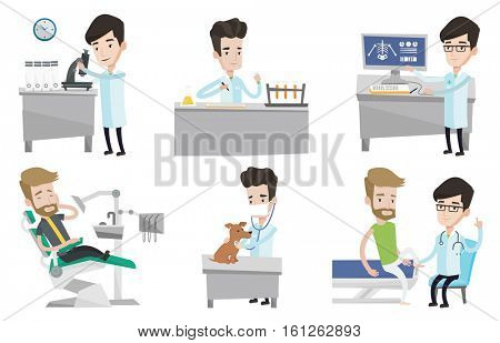 Laboratory assistant working with test tube. Laboratory assistant analyzing liquid in test tube. Scientist holding test tube. Set of vector flat design illustrations isolated on white background.