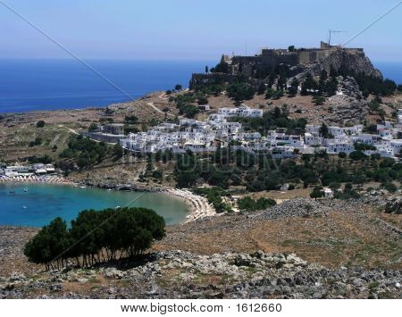 Lindos Town And Beach Greece