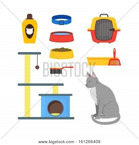 Cartoon Cat Equipment Set House Pets Accessories and Food Flat Design Style. Vector illustration