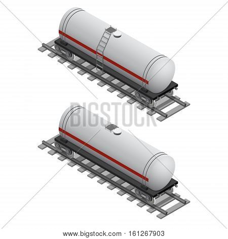 Railway Tank for Fuel Isometric View Railroad Logistic Transportation Gas or Petroleum Products. Vector illustration