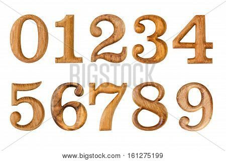Number 0-9. Made From Wood